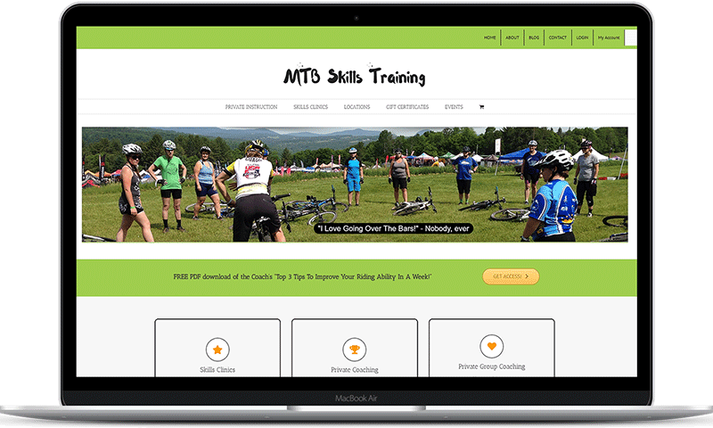 Cycling Coach website for MTB Skills Training in CT