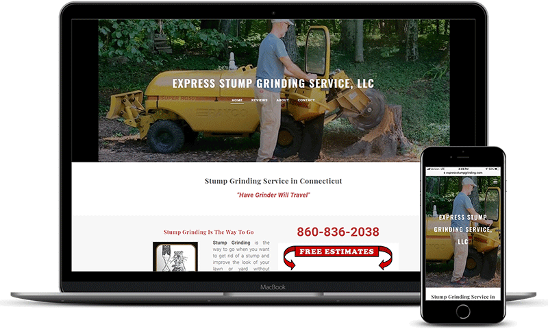 Stump grinding website showing work in Burlington, CT back yard