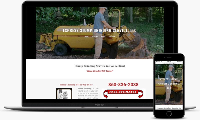 Stump grinding website showing work in Burlington, CT back yard