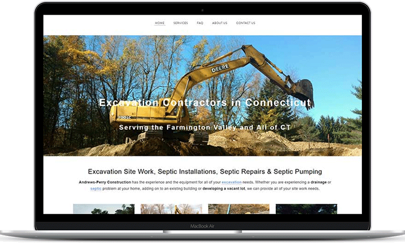 The excavation website of Andrews-Perry Construction in Burlington, CT