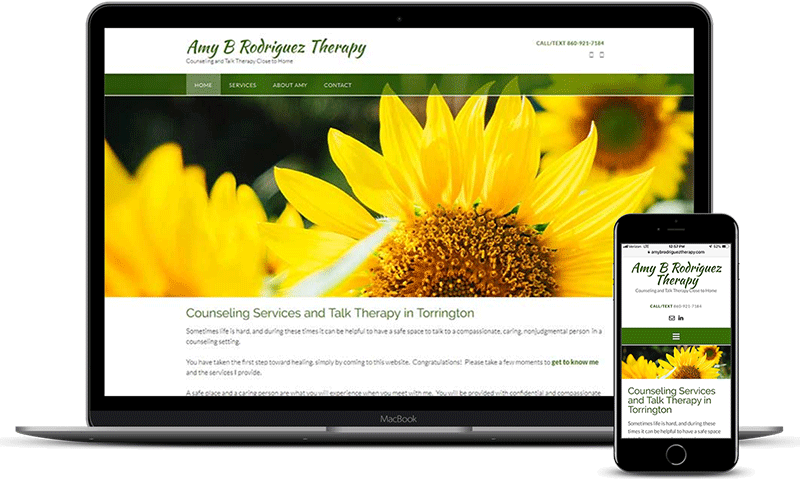 Amy B Rodriguez Therapy mental health website with sunflowers