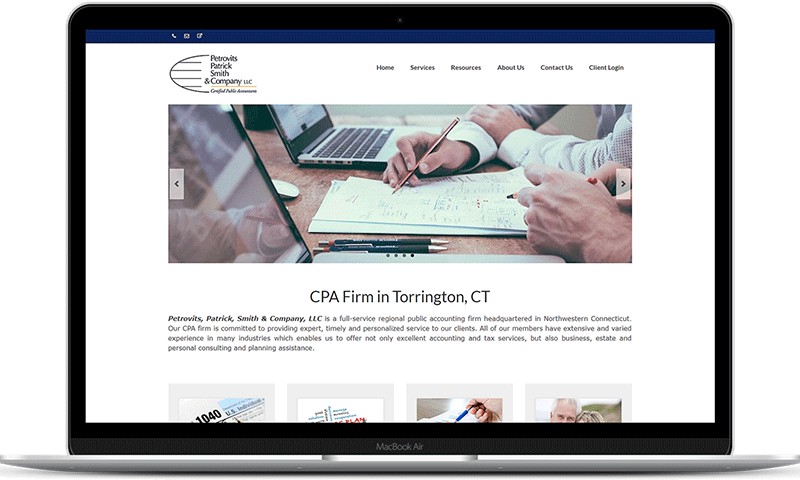 CPA website for Petrovits, Patrick, Smith & Company, LLC in Torrington, CT