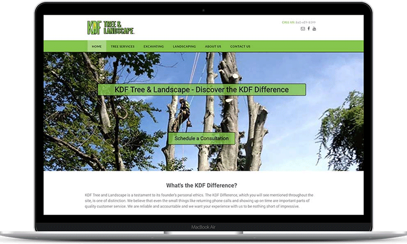 Tree service website for KDF Tree Service and Landscape, LLC in New Milford, CT and Torrington, CT