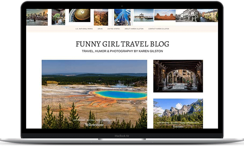 Travel blog website for Karen Gilston is the Funny Girl writer and photographer