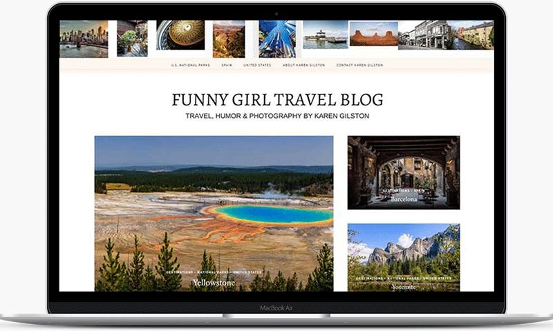 Travel blog website for Karen Gilston is the Funny Girl writer and photographer