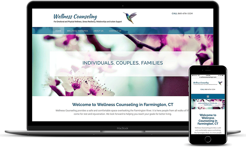 Wellness Counseling website displayed on laptop and iPhone