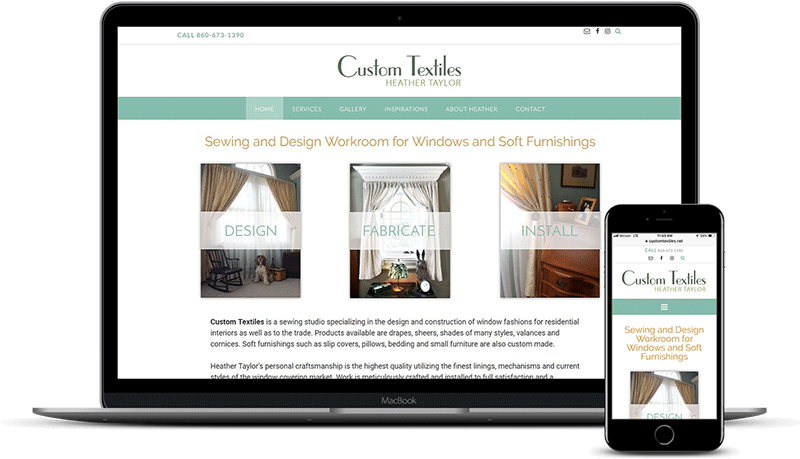 Custom Textiles sewing room website displayed on laptop and iPhone