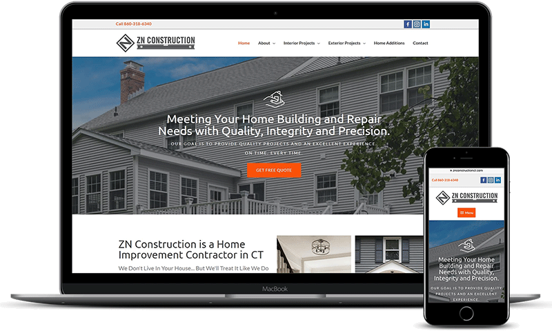 ZN Construction website home page