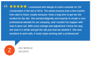 Zac Neville Google review of new contractor website design