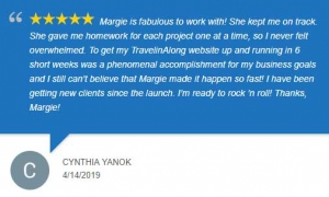 Google review by Cynthia Yanok of Travelin' Along in Canton, CT.