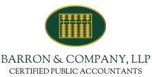 Barron and Company abacus logo in green and gold