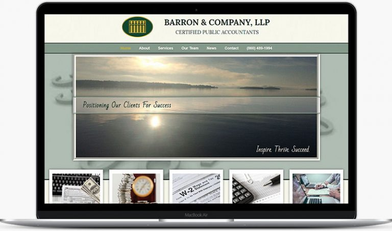 Barron and Company CPA firm website home page on laptop