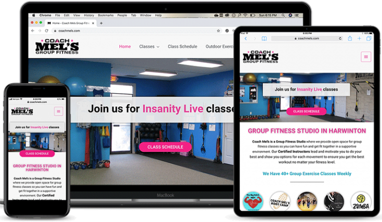 Coach Mel's Group Fitness website on laptop, iPad and iPhone