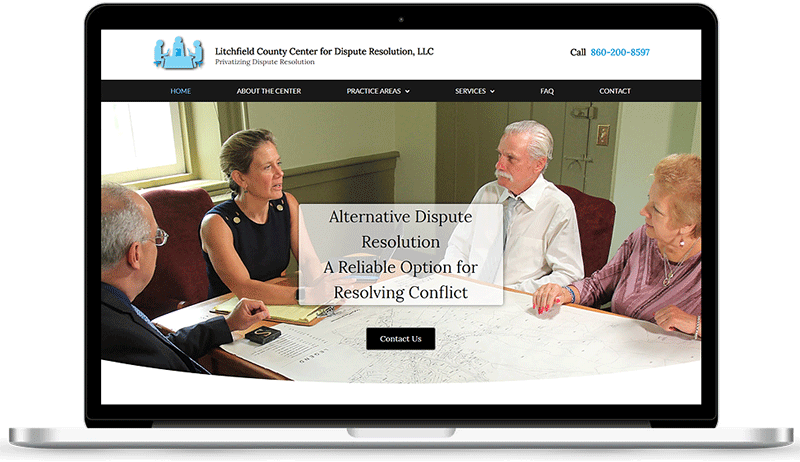 Litchfield County Center for Dispute Resolution website on desktop